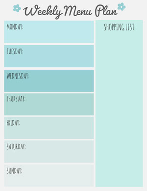 Light Blue Weekly Meal Planner with Shopping List Weekly Menu