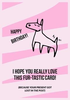 Pink, Black, Minimalistic, Funny Birthday Wishes Card Dog Flyer