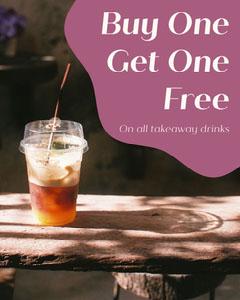 Pink Buy One Get One Free Instagram Portrait Cafe