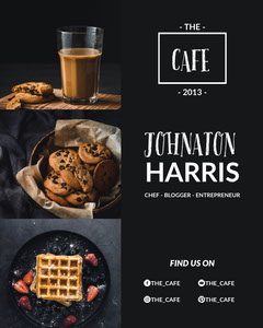 Black With Photos Of Coffee and Cookies Social Post Chef