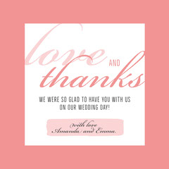 pink border lgbt wedding thank you card Border