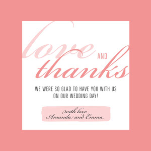 pink border lgbt wedding thank you card Thank You Card