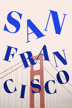 Blue and Red Typography San Francisco Pinterest Graphic with Bridge California