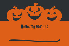 Black and Orange Halloween Pumpkin Carving Party Name Tag Halloween Gift Tag