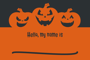 Black and Orange Halloween Pumpkin Carving Party Name Tag Nimikortti