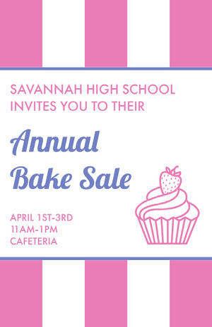 Pink and Blue Illustrated Bake Sale School Event Flyer with Cupcake Pink Flyers