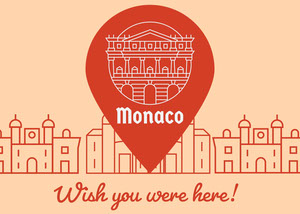 Orange and Red Illustrated Monaco Postcard with City Rejsepostkort