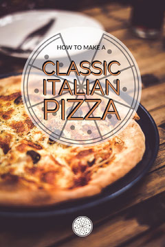 ITalian Pizza Recipe Pinterest Graphic with Photo Pizza