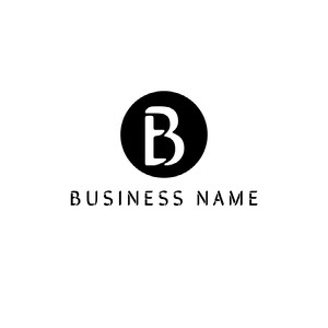 Black and White Business Logo with Letter in Circle Logo de Nombre