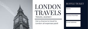 LONDON <BR>TRAVELS  Bilhete de sorteio