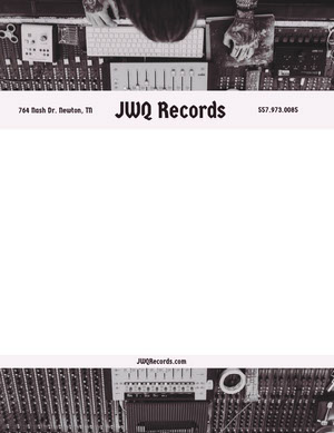Black and White Record Label Letterhead with Recording Studio Picture Carte intestate
