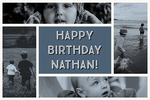 Happy Birthday Nathan! Collage di foto di compleanno