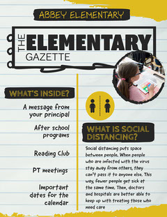 Yellow & Black Torn Paper Elementary Newsletter After School