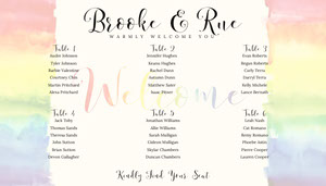 Rainbow Wedding Seating Chart Wedding Seating Charts