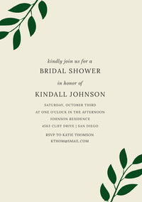Bridal Shower Invitation Card with Leaves Parabenização de casamento
