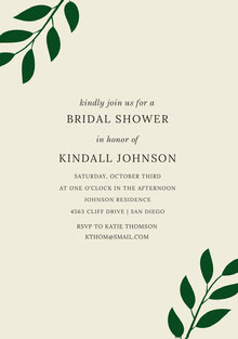 BRIDAL SHOWER <BR>KINDALL JOHNSON  Convite de casamento