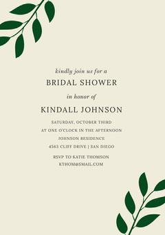 Bridal Shower Invitation Card with Leaves Leaf