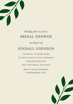 BRIDAL SHOWER <BR>KINDALL JOHNSON  Bridal Shower Invitation