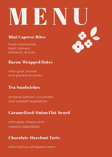 Orange Floral Wedding Menu Menu bruiloft