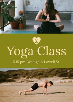 Yellow Yoga Class Flyer with Photos Beach