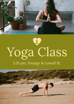 Yellow Yoga Class Flyer with Photos Volantino