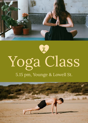 Yellow Yoga Class Flyer with Photos Yoga Posters