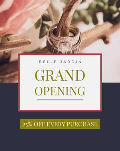 Navy Blue and White Grand Opening Promo Grand Opening Flyer