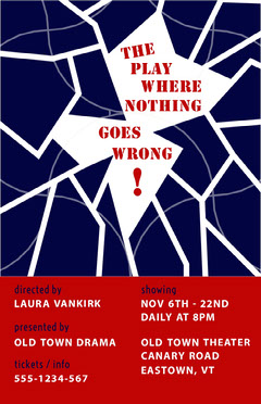 Blue Red and White The Play That Goes Wrong Poster Play Poster
