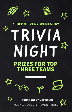 Green White and Black Trivia Night Poster Event Poster