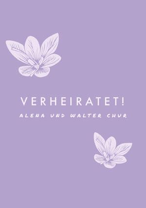 orchids and purple wedding announcements  Hochzeitsanzeigen