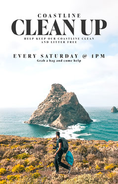 Coastline Clean Up Poster Ocean