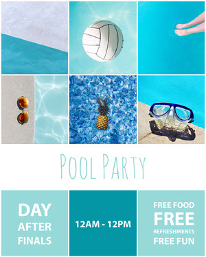Blue, Collage Pool Party Invitation Instagram Portrait Pool Party Invitation
