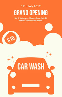Orange and White Car Wash Poster 포스터