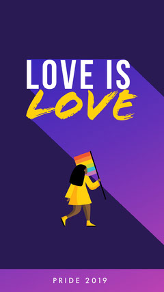 Violet Yellow and White Love Social Post Pride