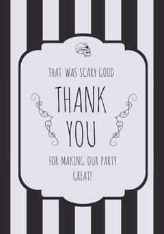 Black White Stripes Halloween Party Thank You Card Halloween Party Thank you Card
