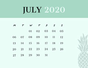 JULY 2020 Calendrier