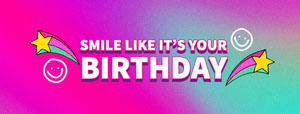 Pink and Green Gradient Smile Its Your Birthday Facebook Banner  Birthday Banner