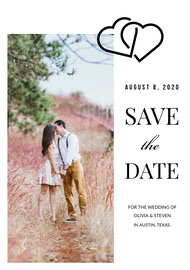 Save the Date Wedding Card with Photo of Couple and Joined Hearts Save the date