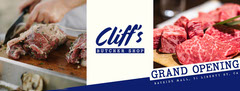 White and Blue Cliff's Butchery Grand Opening Facebook Profile banner Grand Opening Flyer