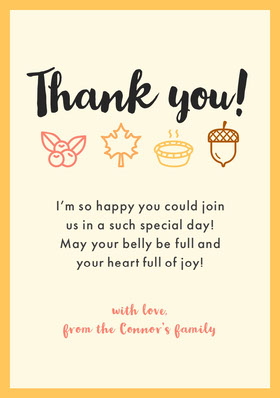 Yellow and Black Thanksgiving Friendsgiving Thank You Card Thank You Card