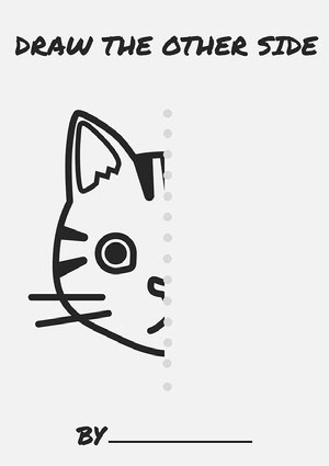 Grey Cat Icon Drawing Activity A4 Worksheet hojas de ejercicios escolares