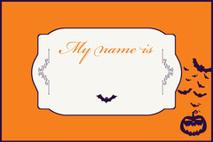 Orange, White and Navy, Light Toned Halloween Name Tag Card Halloween Party Name Tag
