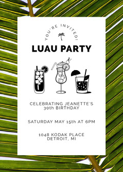 Palm Themed Luau Invitation Luau Invitation