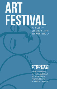 Blue Illustrated Art Festival Poster Art Exhibition