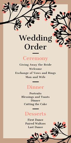 brown border wedding program  Border