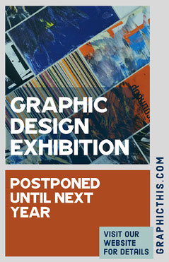 Red, Blue & Grey Graphic Design Artwork Exhibition Poster Shows