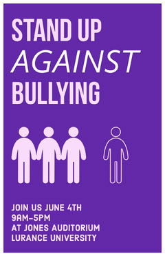 Purple Illustrated Stop Bullying Campaign Poster Purple