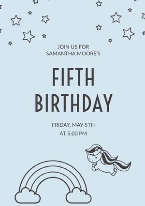 Light Blue Birthday Party Invitation Card with Rainbow and Unicorn Yksisarvissynttärikortti