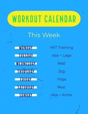 Blue Weekly Workout Calendar Letter  Workout Plan