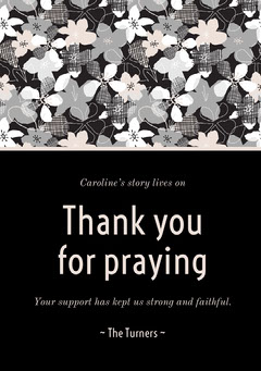 Black Floral Thank You for Attending Funeral Card Funeral
